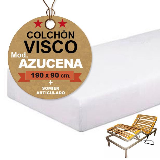 Colchon Somier Oferta.Somier Articulado Colchon Visco 190x90 Cm Oferta