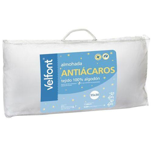 Almohadas baratas - Almohada VELFONT antiácaros para cuna. Tejido 100% algodón. 55×30 cm.