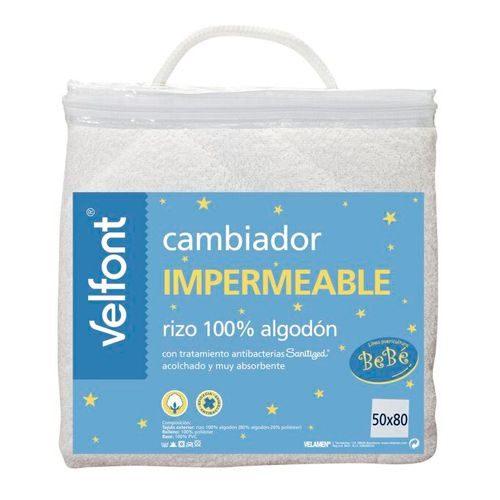 Cambiador bebé acolchado de rizo impermeable. Rizo de algodón muy absorbente con tratamiento antibacterias. 50×80 cm.