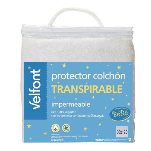 Protector cuna para el colchón VELFONT. Impermeable. Rizo 100% algodón. Con tratamiento antibacterias.