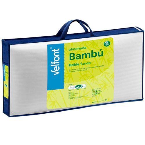 Almohadas baratas - Almohada VELFONT de fibras de bambú, firmeza alta. Doble funda.