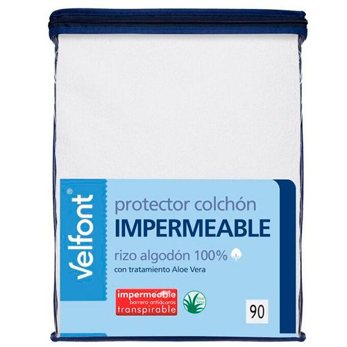 Protector impermeable y transpirable de colch n rizo 100 algod n con tratamiento aloe vera - Protector de colchones impermeables ...